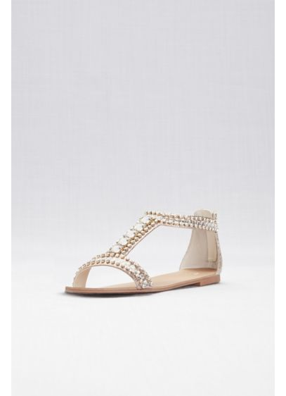 Crystal and Jewel Embellished Flat Sandals - A flat sandal that turns heads! Treat your
